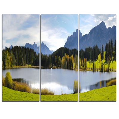 Designart Panorama Landscape In Bavaria Photography Canvas Art Print - 3 Panels