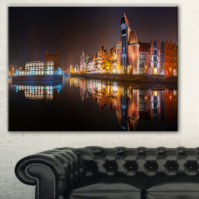 Designart Panorama Of Gdansk Old Town Landscape Photography Canvas Print