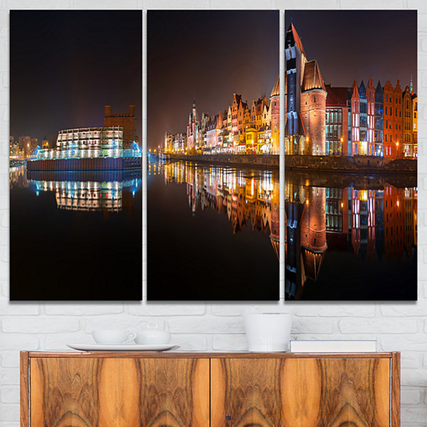 Designart Panorama Of Gdansk Old Town Landscape Photography Canvas Print - 3 Panels