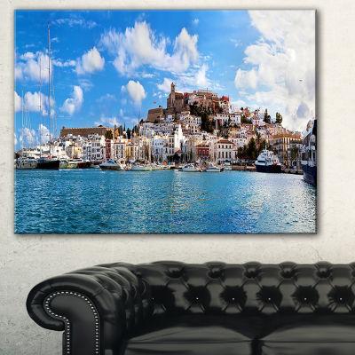 Designart Panorama Of Ibiza Spain Cityscape PhotoCanvas Art Print - 3 Panels