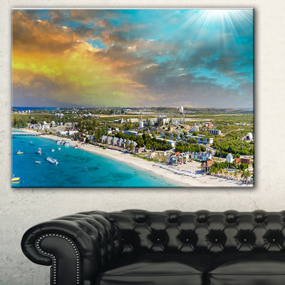 Designart Panoramic Caribbean Island Landscape Photography Canvas Print