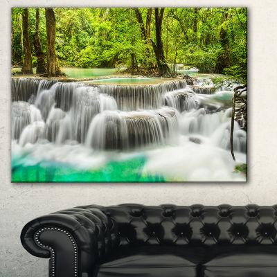 Designart Panoramic Erawan Waterfall Landscape Photography Canvas Print - 3 Panels