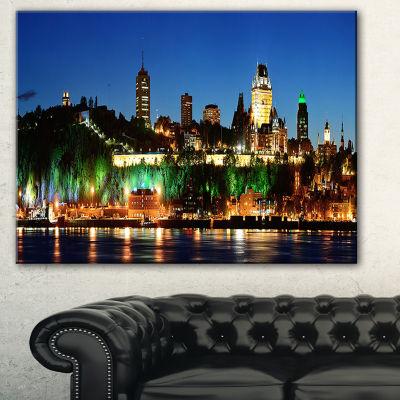 Designart Panoramic Quebec City At Night CityscapePhoto Canvas Print - 3 Panels