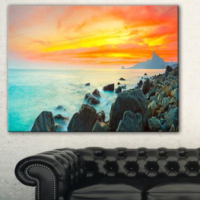 Designart Panoramic Sunset Photography Canvas ArtPrint - 3 Panels