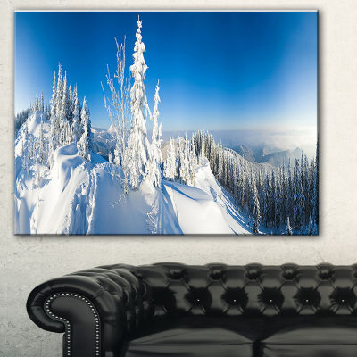 Designart Panoramic Winter Mountain Photography Canvas Art Print - 3 Panels