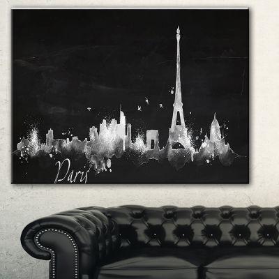 Design Art Paris Dark Silhouette Cityscape PaintingCanvas Print - 3 Panels