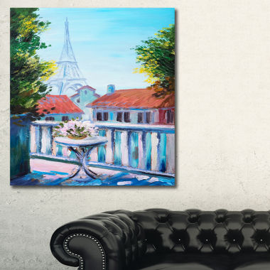 Designart Paris Eiffel Tower Landscape Art Print Canvas