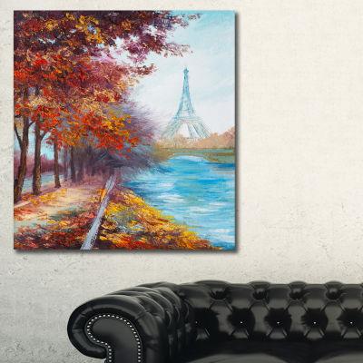 Designart Paris Eiffel Tower View In Fall Landscape Art Print Canvas - 3 Panels