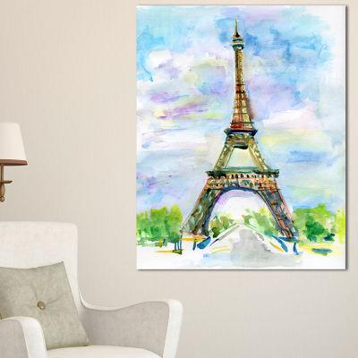 Designart Paris Eiffel Toweragainst Blue Sky Watercolor Canvas Art Print - 3 Panels