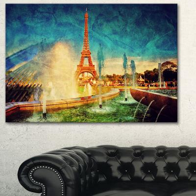Designart Paris Eiffel Towerfrom Fountain Landscape Canvas Art Print