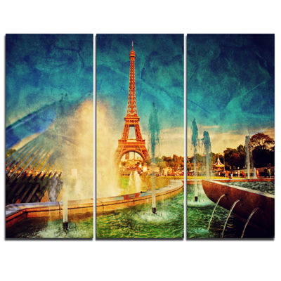 Designart Paris Eiffel Towerfrom Fountain Landscape Canvas Art Print - 3 Panels