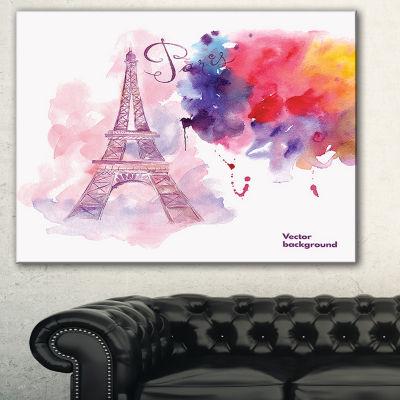 Designart Paris Eiffel Towerin Cloud Of Colors Watercolor Painting Canvas Print