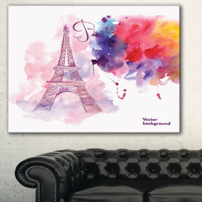 Designart Paris Eiffel Towerin Cloud Of Colors Watercolor Painting Canvas Print - 3 Panels