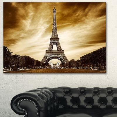 Designart Paris Eiffel Towerin Grey Shade Landscape Photography Canvas Print - 3 Panels