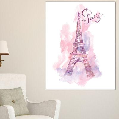 Designart Paris Eiffel Towerin Purple WatercolorPainting Canvas Print - 3 Panels
