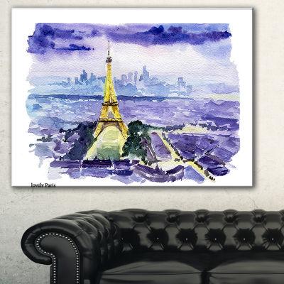 Designart Paris Eiffel Toweron Blue Background Contemporary Canvas Art Print