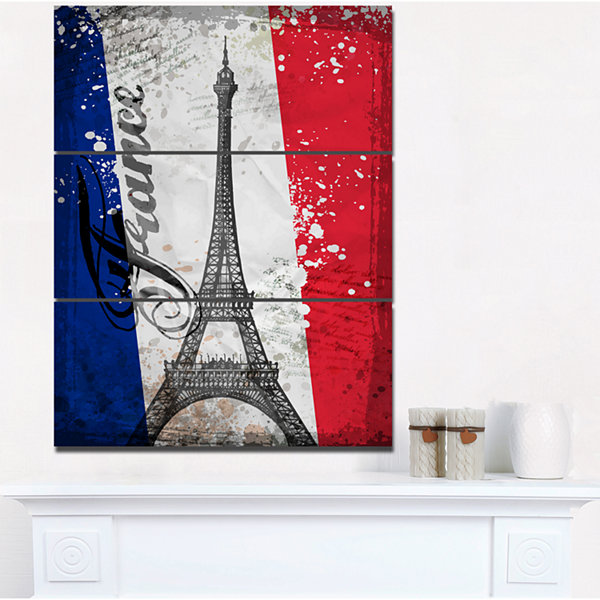 Design Art Paris Eiffel Toweron French Flag Abstract Print On Canvas - 3 Panels