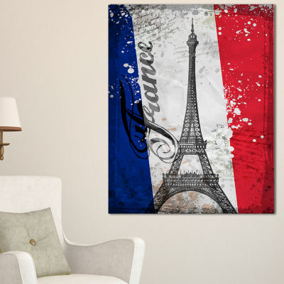 Designart Paris Eiffel Toweron French Flag Abstract Print On Canvas - 3 Panels
