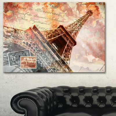 Designart Paris Eiffel Towerparis Contemporary Canvas Art Print