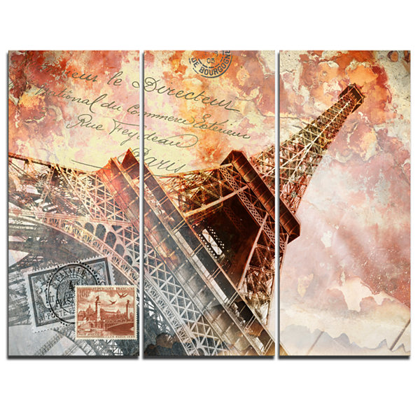Designart Paris Eiffel Towerparis Contemporary Canvas Art Print - 3 Panels
