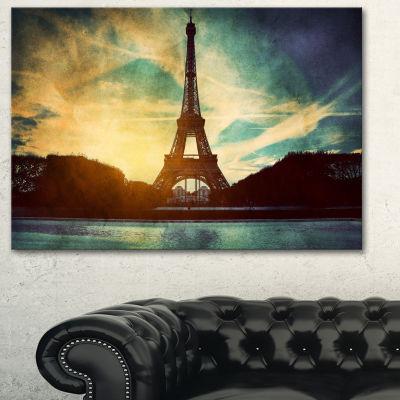 Designart Paris Eiffel Towerretro Style CityscapeCanvas Wall Art Print