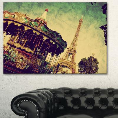 Designart Paris Eiffel Towerretro Style LandscapeArt Print Canvas - 3 Panels