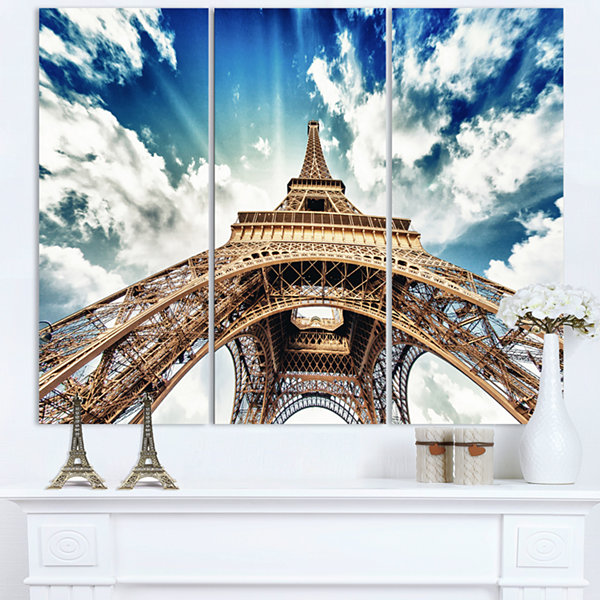 Design Art Paris Eiffel Towerwith Fast Moving Clouds Photography Canvas Art Print - 3 Panels