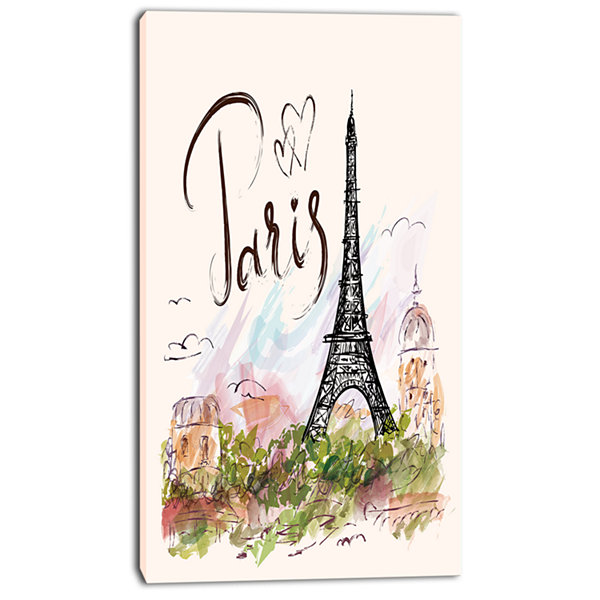 Designart Paris Eiffel Towerwith Paris ScribblingAbstract Print On Canvas