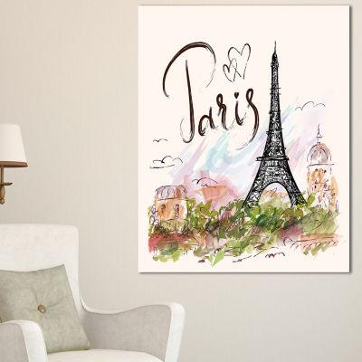 Designart Paris Eiffel Towerwith Paris ScribblingAbstract Print On Canvas - 3 Panels