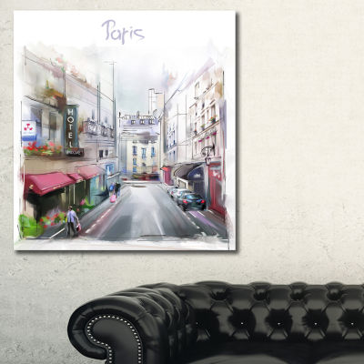 Designart Paris Illustration Cityscape Digital Canvas Art Print - 3 Panels