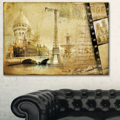 Designart Paris Memories Vintage Canvas Art Print-3 Panels