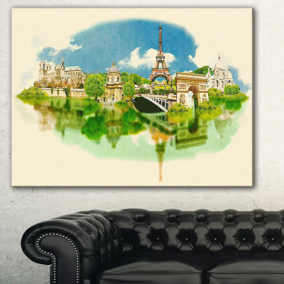 Designart Paris Panoramic View Cityscape Watercolor Canvas Print