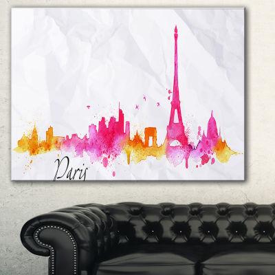 Designart Paris Pink Silhouette Cityscape PaintingCanvas Print - 3 Panels
