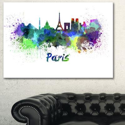 Designart Paris Skyline Cityscape Canvas Art Print