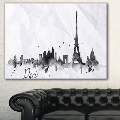 Designart Paris With Eiffel Silhouette Cityscape Painting Canvas Print - 3 Panels