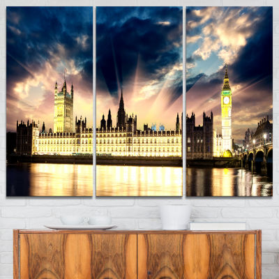Design Art Parliament At River Thames Cityscape Photography Canvas Print - 3 Panels