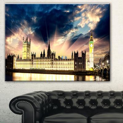 Designart Parliament At River Thames Cityscape Photography Canvas Print - 3 Panels