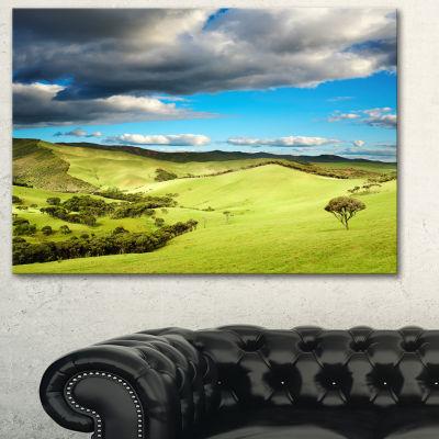 Design Art Pasture Under Cloudy Sky Landscape Photography Canvas Print - 3 Panels