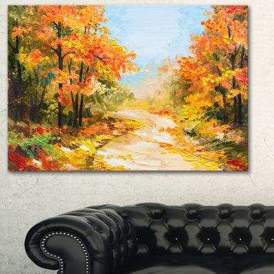 Designart Path In Autumn Forest Landscape Art Print Canvas - 3 Panels