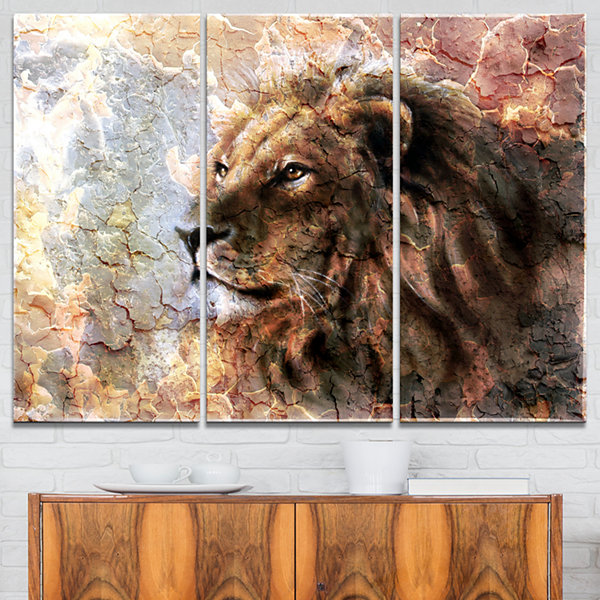 Designart Peaceful Lion Animal Art On Canvas - 3Panels