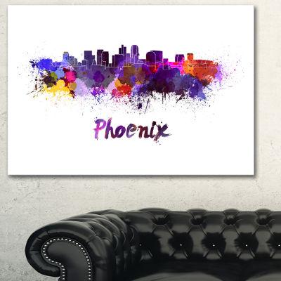 Designart Phoenix Skyline Cityscape Canvas ArtworkPrint - 3 Panels