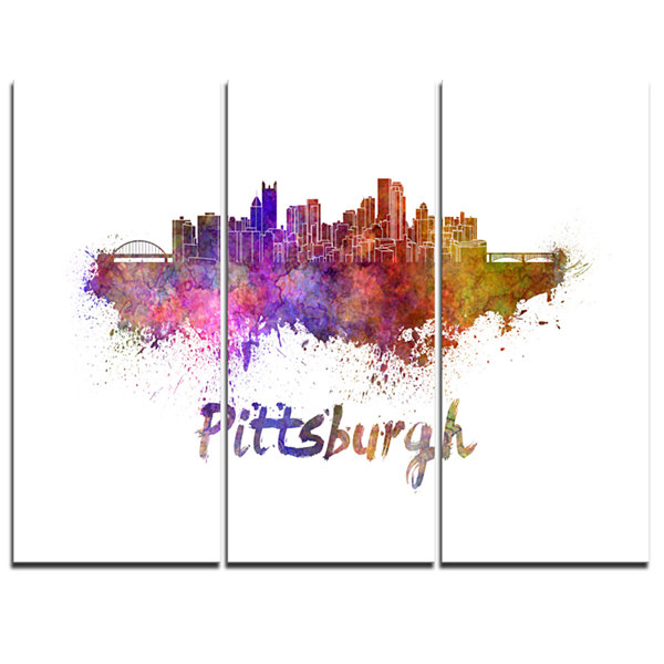 Design Art Pittsburgh Skyline Cityscape Canvas Artwork Print - 3 Panels