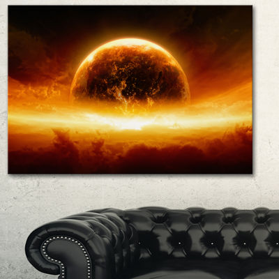 Designart Planet Earth Explosion Contemporary Canvas Art Print - 3 Panels