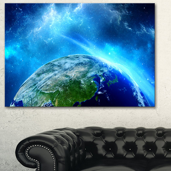 Design Art Planet Earth In Universe Contemporary Canvas Art Print - 3 Panels