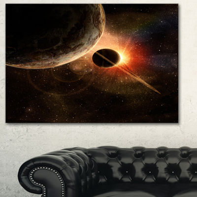 Designart Planet With Rings Contemporary Artwork