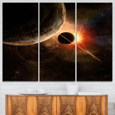 Designart Planet With Rings Contemporary Artwork-3Panels
