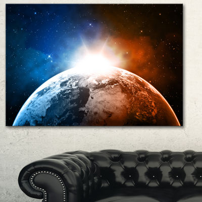 Designart Planet With Sunrise In Space Contemporary Canvas Art Print