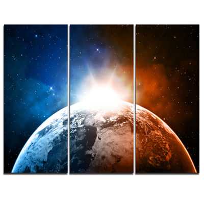 Designart Planet With Sunrise In Space Contemporary Canvas Art Print - 3 Panels