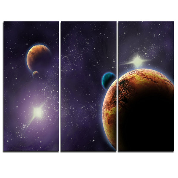 Designart Planets In Deep Dark Space ContemporaryArtwork - 3 Panels