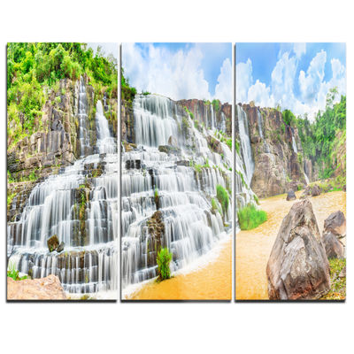 Designart Pongour Waterfall Photography Canvas ArtPrint - 3 Panels